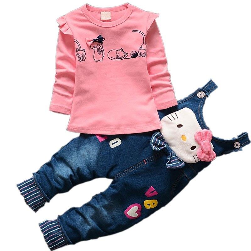 Infant baby girls pink cat children jeans trousers clothing sets cartoon tops t shirt denim blet pants sport suit kids tracksuit