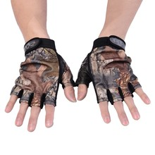 Fishing Accessory Camouflage Cotton Anti-slip Breathable Durable Half Fingers Fishing Gloves Fit For Fishing Outdoor Sports