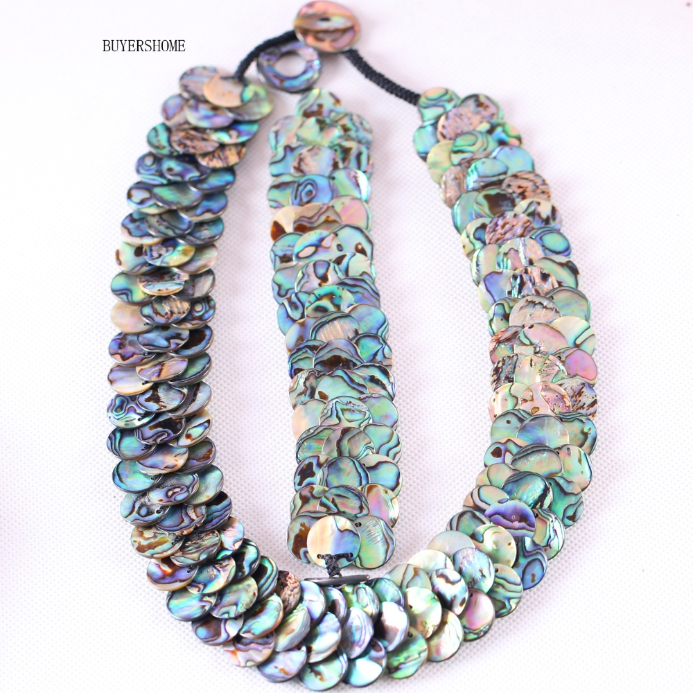 BUYERSHOME Hot Jewelry Sets For Women Natural 15MM Beads Blue New Zealand Abalone Shell Bracelet 8