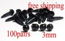 100pairs 3mm Round Black safety eye Toy plastic eye DIY Doll making supply