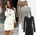 Moda 2016 roupas novas mulheres botão de mangas compridas pacote magro hip cor sólida vestido das mulheres