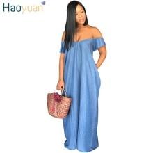 d21e444f603 HAOYUAN Women Sexy Denim Dress Off Shoulder Strapless Casual Loose Long  Maxi Dresses Vestidos 2018 Plus Size Jeans Summer Dress