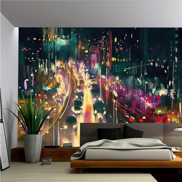 Custom Wall Murals Scenery Beauty Wallpaper City Night View Backdrop Living Room