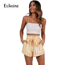 Summer Casual Striped mini sexy Shorts Women 2019 New Elastic High Waist Streetwear Shorts Female Cotton  Lace Up Bow Pocket lace up raw hem pocket shorts