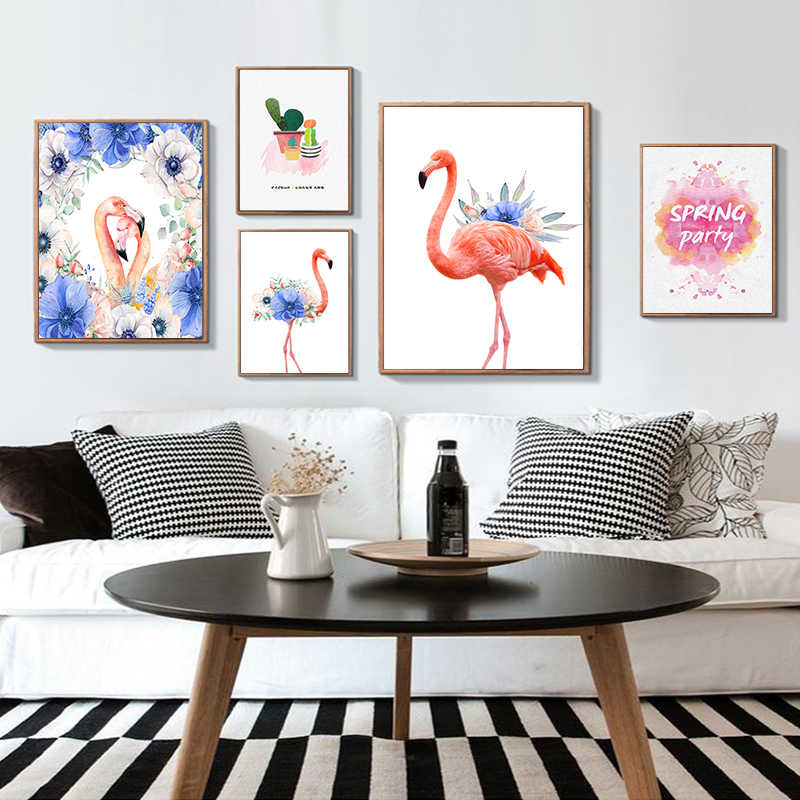 Art Canvas Flamingo Poster Pink Paintings Animal Wall Pictures Print Minimalist Watercolor Home Room Hipster Decoration Art Pain