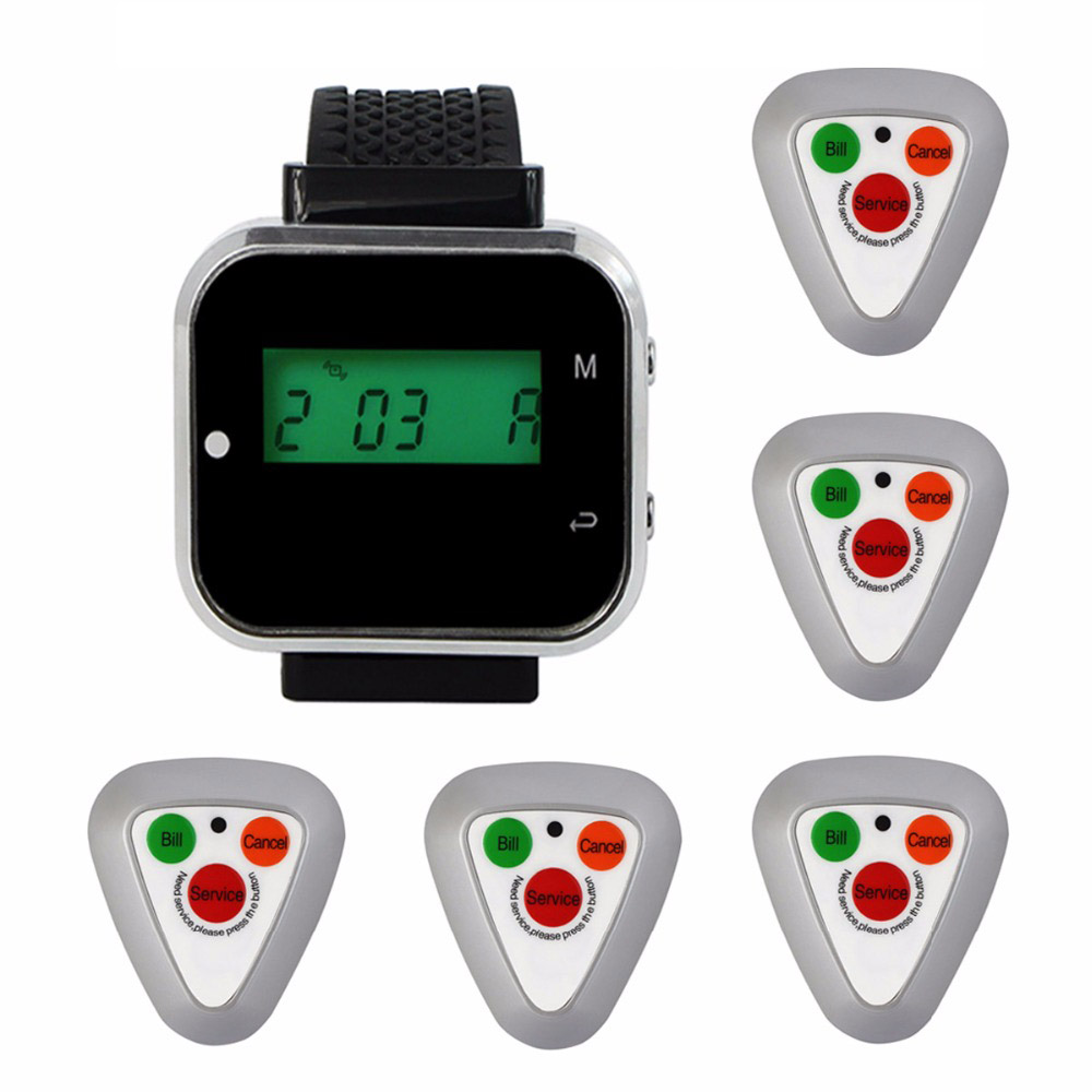 Wireless Restaurant Ordering System Call System Waiter Pager Customer Service With 1 Watch Receiver +5 call button transmitter customer service bell system k 402nr h3 wr for restaurant service with call button and led display dhl shipping free