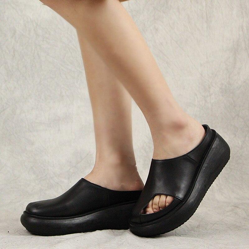 En Pantoufles Sandales Épaisses Confortable 510 Chausson Femelle Femmes coffee Chaussures Pour Wedge 3 Nouvelle Noir Semelles Cuir Rétro D'été blanc Loisirs B1OvqpOn