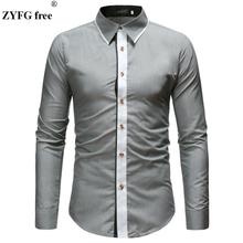 Simple casual style mens shirts solid color long sleeve youth men popular spring and summer male clothing