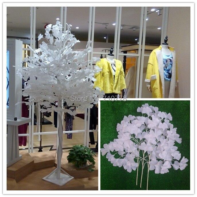 Us 1800 100 Sztuk Biały Ginkgo Liści ślub Rekwizyty Białe Sztuczne Gałęzie Drzewa Liście Wesele Festiwal Dekoracji Liści Ginkgo W Sztuczne I