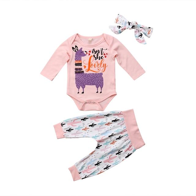 77d1c9f4ec16 Infant Toddler Baby Girl Boy Clothes Long Sleeve Alpaca Llama Print Romper  Tops+Pants+ Headhand Girls Clothing Outfits 3Pcs Set