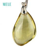 Natural Lemon Quarts And Smoky Quarts Silver Pendant Cabochon Cutting In 20mm 30mm Deep Color And