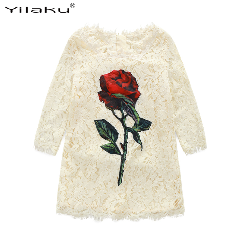 Yilaku Princess Girls Dress Long Sleeve Flower Lace Dresses Christening Wedding Party Dress For Girl First Communion Gowns CA333 2016 lace tulle flower baby girl dress princess communion dresses christening baptism girls dress for wedding party robe fille