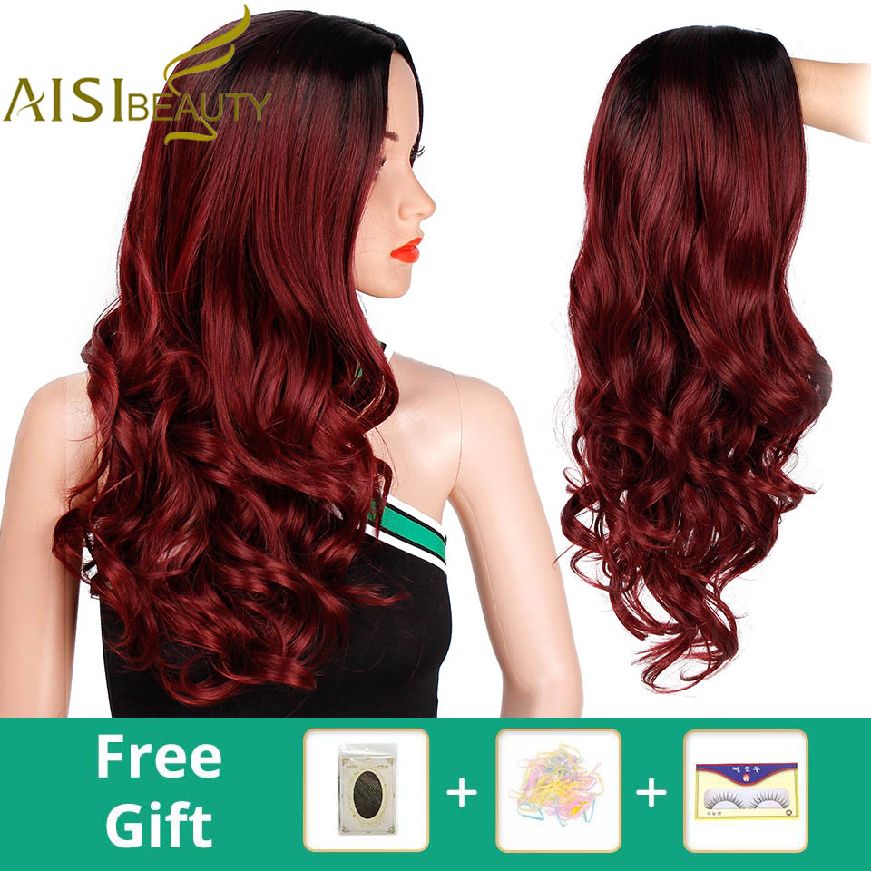 Ombre Long Wave Red Wig Synthetic Wigs for Women Black Blonde White Grey Wig Cosplay AISI BEAUTY