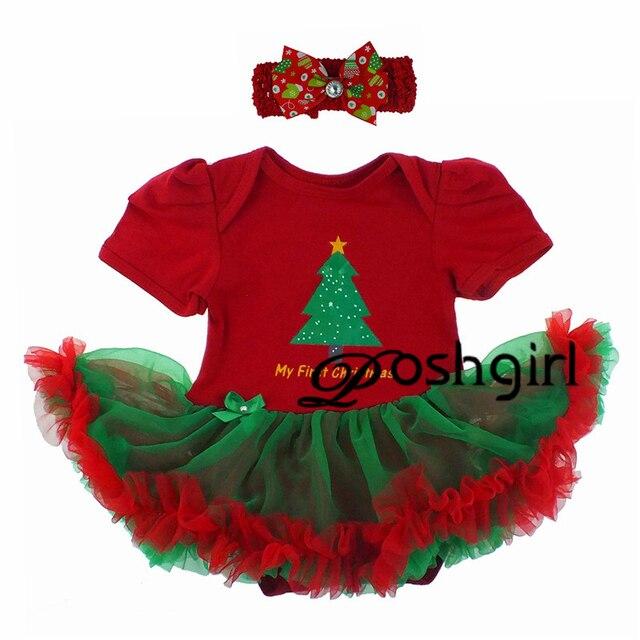 2016 Baby Girl's Christmas Clothing Sets Kids Cartoon Xmas 2Pcs Suits Tutu Dress + Headband Infant Newborn Birthday Gifts Outfit