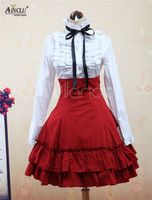 Ainclu Clearance Sale!! Sweet Lolita Sets Cotton White Lolita Blouse Long Sleeves and Red Lolita Skirt Outfits Free Shipping
