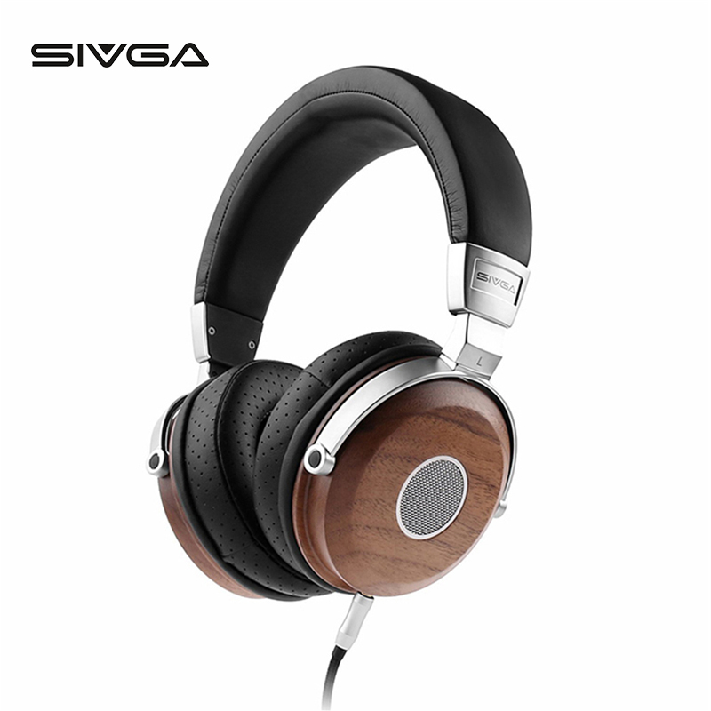 SIVGA SV005 hifi <font><b>Stereo</b></font> Faltbare Noise Isoliation über-ohr Holz Dynamische Kopfhörer Ohrhörer <font><b>Headset</b></font> kopfhörer mit mikrofon image