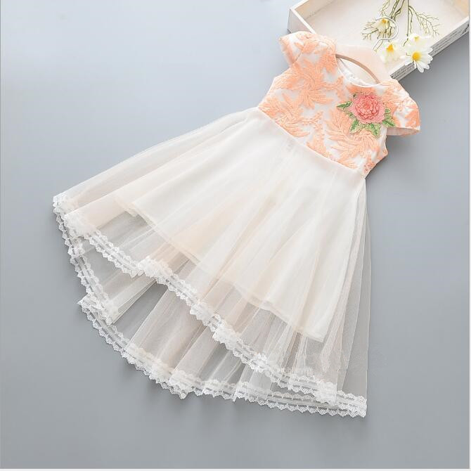 Girls Lace Tulle Dresses 2018 Summer Kids Holiday Dresses Cute Baby Sleeveless Dress Fashion Elegant. Princess Party Dress