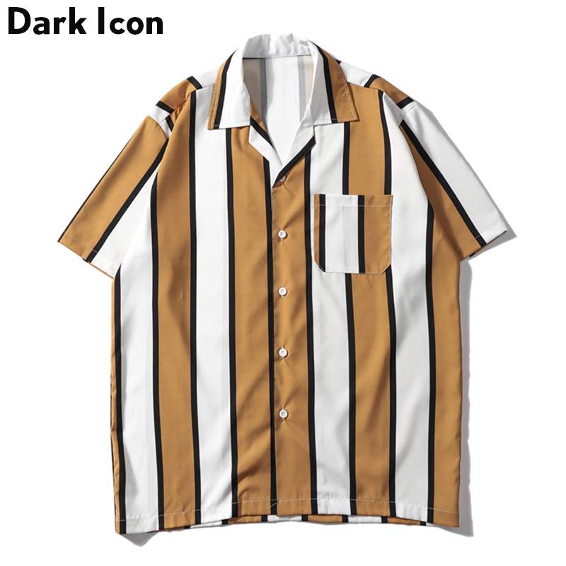Dark Icon Striped Turn-down Collar Front Pocket Street Shirts Men 2019 Summer Hawaii Style Men's Shirts Hip Hip Shirt