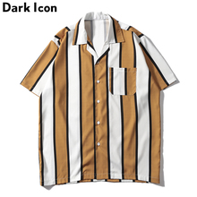 Dark Icon Striped Turn-down Collar Front Pocket Street Shirts Men 2019 Summer Hawaii Style Mens Hip Shirt