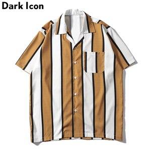 Image 1 - Dark Icoon Gestreepte Turn Down Kraag Voorvak Street Shirts Mannen 2019 Zomer Hawaii Stijl Mannen Shirts Hip hip Overhemd