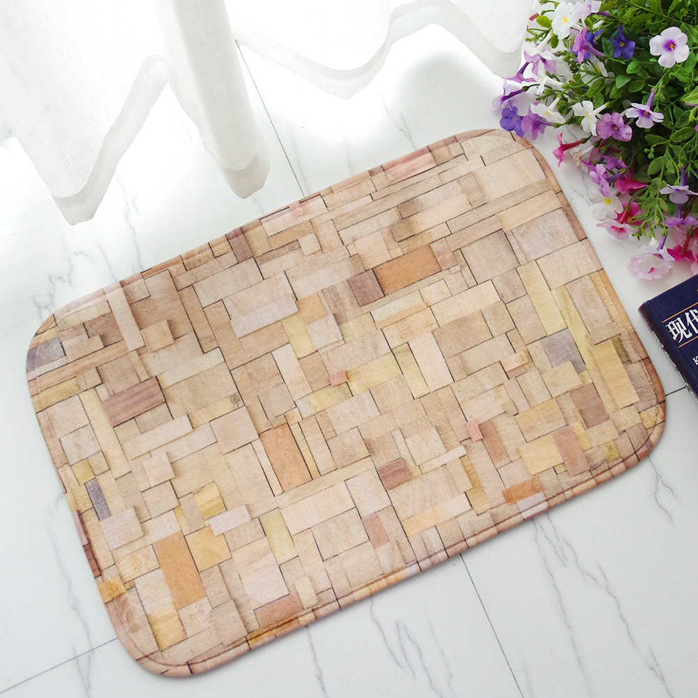 bamboo weaving printing flannel bedroom carpet land water uptake nonslip kitchen pad tapete floor