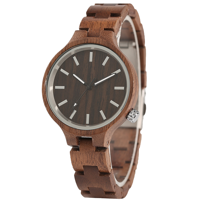 Ladies Fashion Women Wood Walnut Quartz Watch Bangle Trendy Full Wood Band Bracelet Watches Gift цена