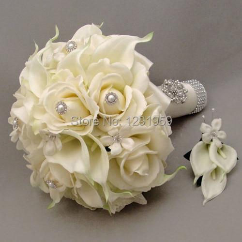 Pearl Rhinestone White Silk Rose Calla Lily Wedding Bridal Flower Bouquet Brooch On Hole Set