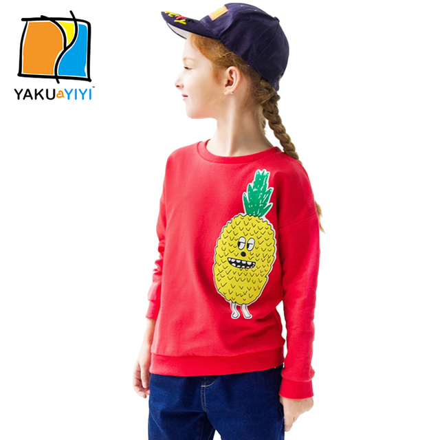 YKYY YAKUYIYI New Girls Sweatshirt Sweet Fruit Print Baby Girl Tops Soft Long Sleeve Children Casual Sweatshirt Girls Clothing