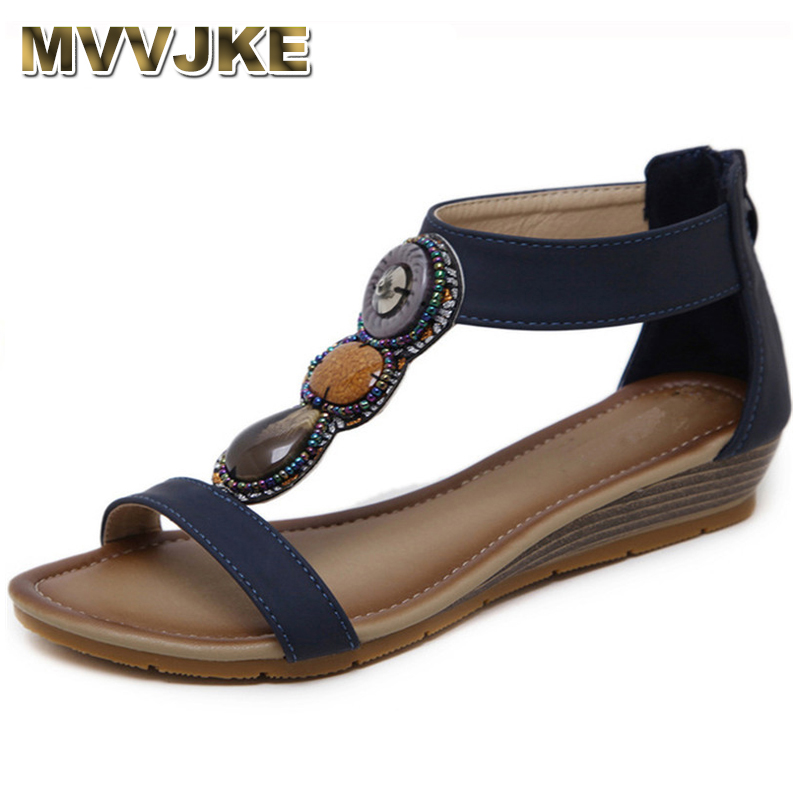 012d76e6f MVVJKE Roma Style Summer Women Shoes Wedge Sandals Open Toe Gladiator Sandals  Women Bohemia Beach Shoes