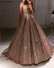 מבריק יוקרה שמלות נשף 2020 ארוך עמוק V צוואר ללא משענת Sparkle טול אונליין סקסי ערב מסיבת שמלות Robe דה Soiree מותאם אישית