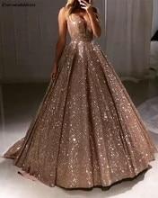 Błyszczące luksusowe suknie balowe 2020 długie głębokie dekolt bez pleców Sparkle tiul line Sexy suknie wieczorowe Robe De Soiree dostosowane