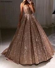 Shiny Luxury Prom Dresses 2020 Long Deep V Neck Backless Sparkle Tulle A Line Sexy Evening Party Gowns Robe De Soiree Customized