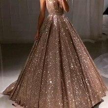 Shiny Luxury Prom Dresses 2020 Long Deep V-Neck Backless Spa