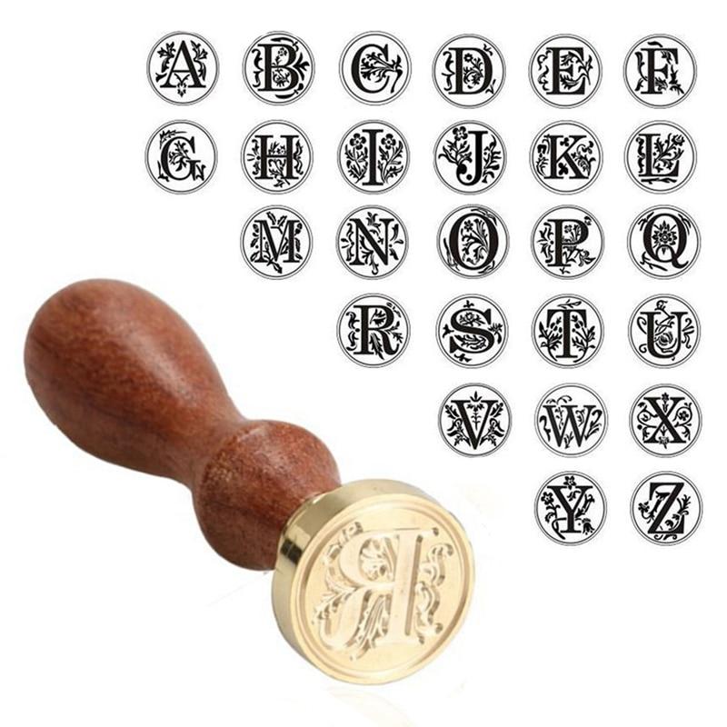 1 Set Alphabet Initial Letter Wax Seal Stamp Scrapbook Card Envelope Sealing