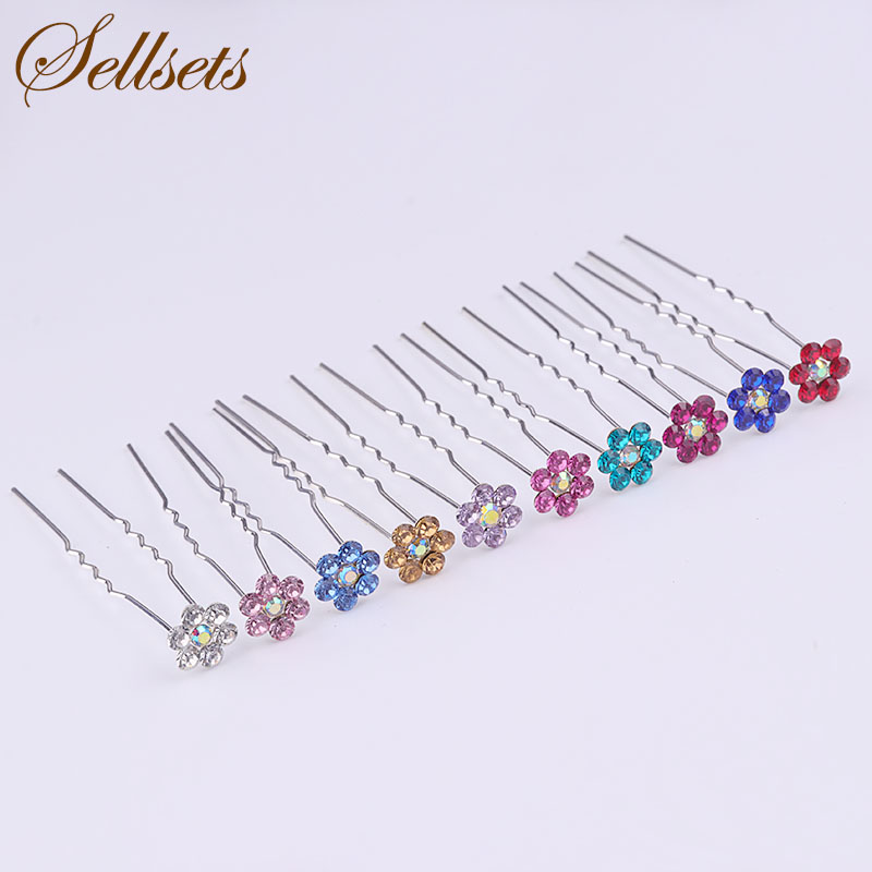 Sellsets 200pcs/lot 10mm Multicolor Crystal Flower Hair Pin Wedding Jewelry Bridal Haipins Bridesmaid Hair Accessories Wholesale