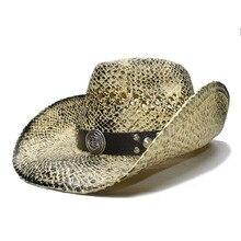 LUCKYLIANJI negro Vintage verano mujeres hombres de ala ancha de paja playa vaquero  vaquera occidental sombrero de ancla banda d. f263adee225