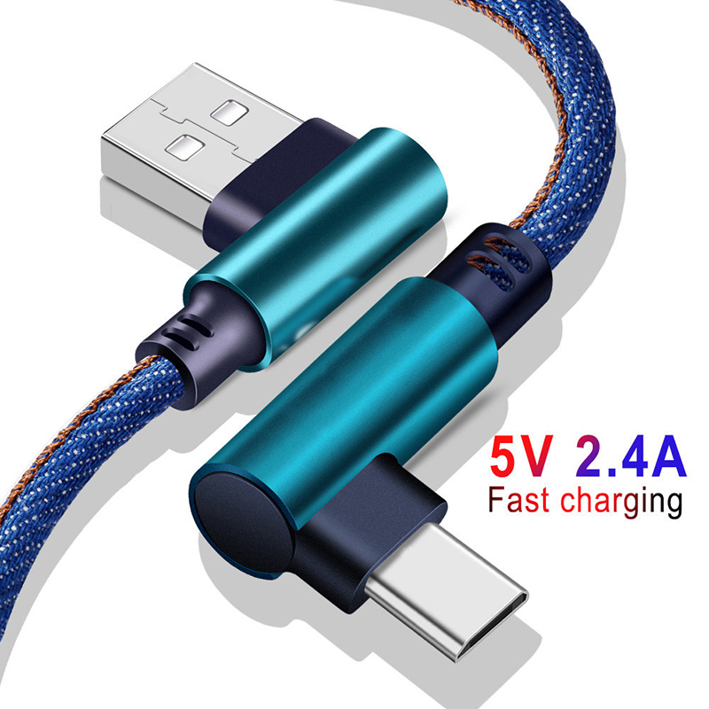 USB Type C Cable 90 Degree For Xiaomi Redmi Note 7 USB C Data Sync Cable For Samsung Galaxy S10 S9 Plus Game Charging USB Cables in Mobile Phone Chargers from Cellphones Telecommunications