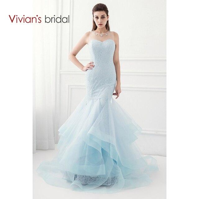 Us 110 05 29 Off Vivian Pengantin Tiffany Biru Mermaid Prom Gaun Lace Tanpa Lengan Crystal Organza Gaun Malam Gaun Pesta Wd360 17 Di Evening Dresses