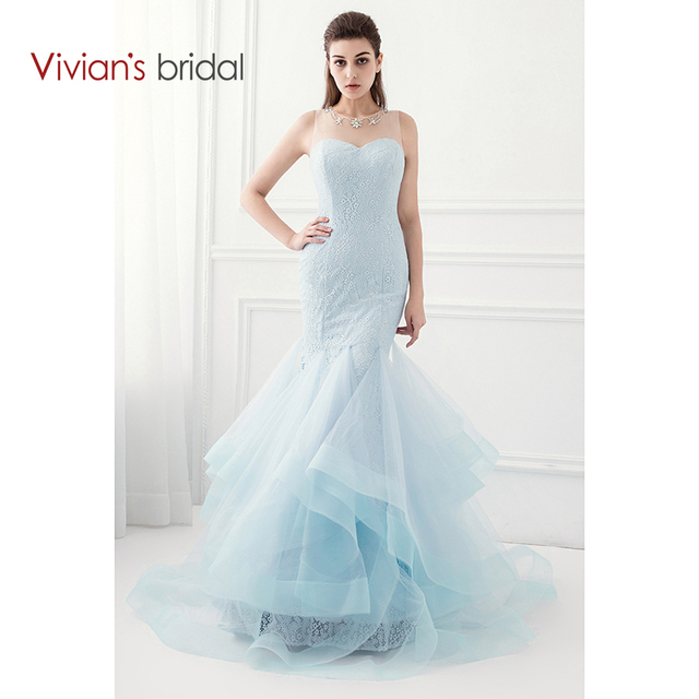 Vivian\'s Bridal Tiffany Blue Mermaid Prom Dress Sleeveless Lace ...