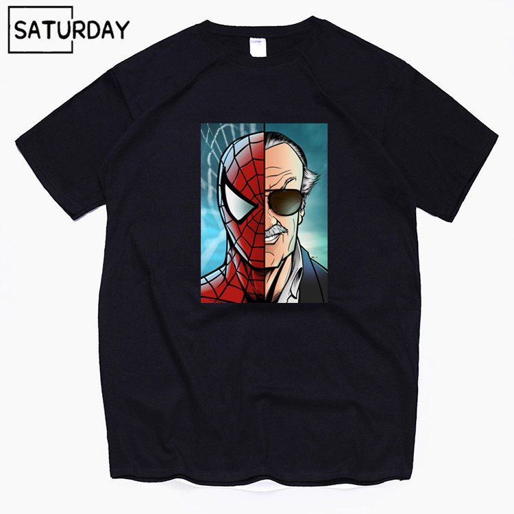 Men's Comics Stan Lee Spiderman Cotton T Shirts 2019 Summer Workout Tshirts Anime Superhero Tops Boyfriend Gift Dropshipping