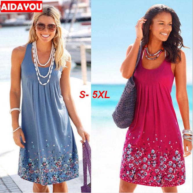Women Summer Dress Boho Style Floral Print Chiffon Beach Dresses Tunic Sundress Loose Party Dress Vestidos Plus Size 5XL Ouc427