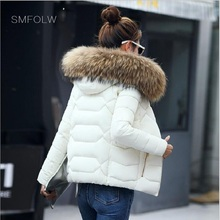 SMFOLW 2017 women down winter real raccoon fur down jacket women short women hooded warm coat winter coat(China)