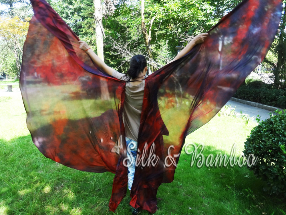 """Lava, 1set 2.7m*1.14m(3yard*45"""")  tie dye 6mm habotai double veil belly dance silk wing=2pcs double veils, real silk!-in Belly Dancing from Novelty & Special Use    1"""