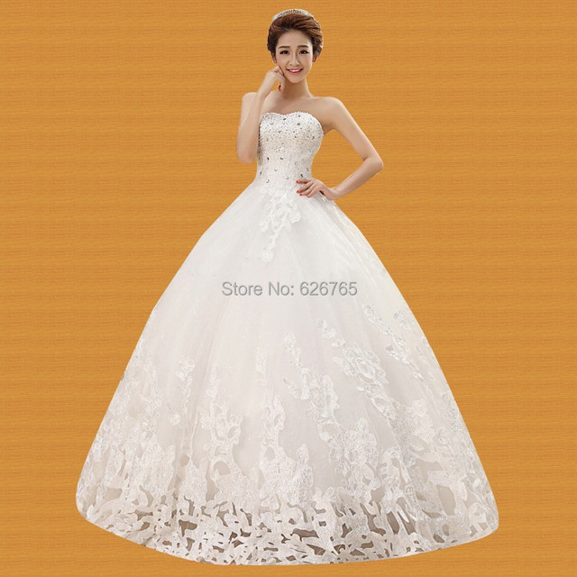 040f92c7c658a New Sexy  Fashion Bridal Gown Wedding Dresses Silhouette Sweetheart Floor- Length White Lace Crystal Wedding Dress PLUS SIZE