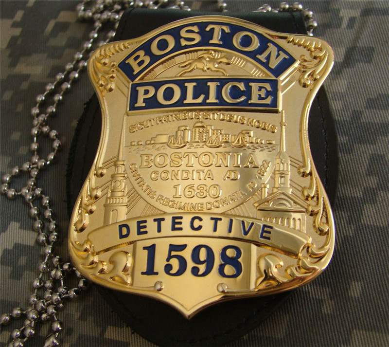 United States Boston Detective Cosplay Badges Copper Police No.1598 Shirt Lapel Badge Brooch Pin Cosplay Collection Gifts