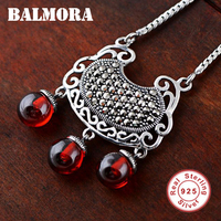 BALMORA 925 Sterling Silver Garnet Longevity Lock Pendant Necklaces for Women Long Chains Vintage Accessories Jewelry JWN028468
