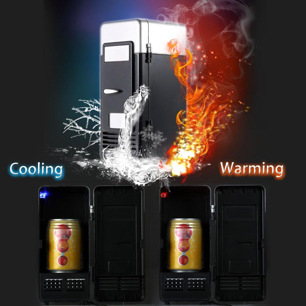Homgeek Portable Mini Refrigerator Fridge USB Gadget Beverage Cans Cooler Warmer Refrigerator with Internal LED Light For Home