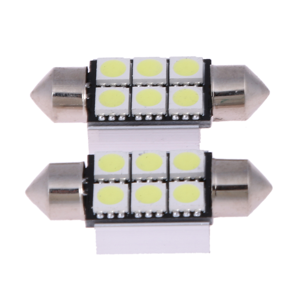 VODOOL 10 pcs White 36mm 5050 6SMD LED C5W Car Led Auto Interior Dome Door Light Bulb Pathway Lighting 12V Work Lamp Car-styling cawanerl car canbus led package kit 2835 smd white interior dome map cargo license plate light for audi tt tts 8j 2007 2012
