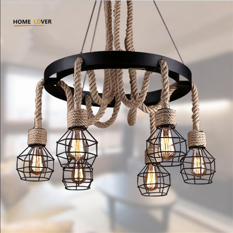 Vintage pendant lights rope Edison Bulb lamp modern fixtures lighting led industrial iron pipe Antique light Spider loft Lamps hemp rope chandelier antique classic adjustable diy ceiling spider lamp light retro edison bulb pedant lamp for home