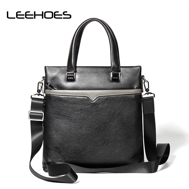 Business Style Fashion Genuine Leather Men Tote Bag Messenger Bags Casual Men's Travel Bag Man Leather Crossbody Shoulder Bags aosbos fashion portable insulated canvas lunch bag thermal food picnic lunch bags for women kids men cooler lunch box bag tote